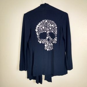 Floral Skull Navy Knit Jersey Open Jacket Small
